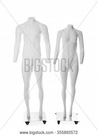 Male And Female Ghost Headless Mannequins With Removable Pieces Isolated On White