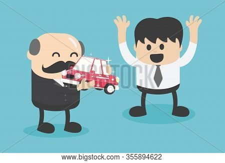 Business Concept Cartoon Valuable Gift To A Diligent Businessman To Encourage Him To Work