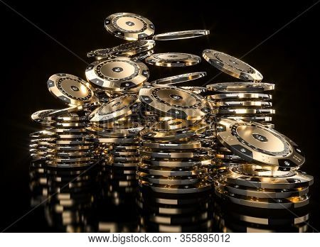 gold color poker chips with diamonds on a black background. Concept of luxury and gambling. 3d render.
