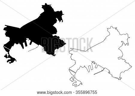 Volos City (hellenic Republic, Greece, Hellas, Thessaly) Map Vector Illustration, Scribble Sketch Ci