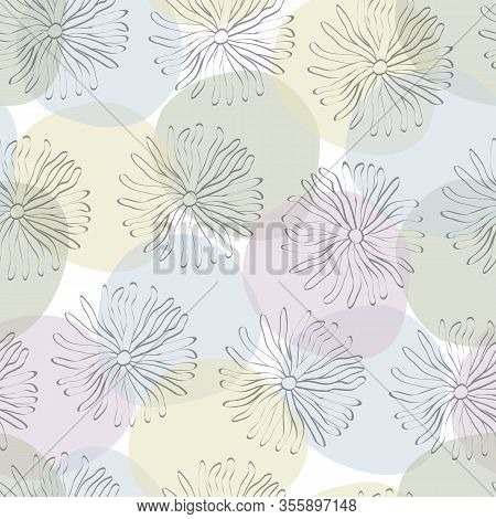 Vector Flowers Daisies Line Art Scattered On Purple Blue Green Yellow Circles Background Seamless Re