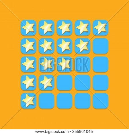 Five Star Rating Icon Set. Client Feedback System Rating With Cartoon Stars. Funky Rate Us Web Page