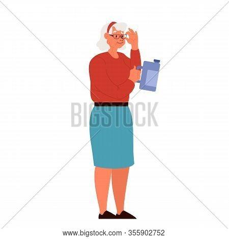 Old Lady In Supermarket Grocery Choosing Things. Woman Byuing