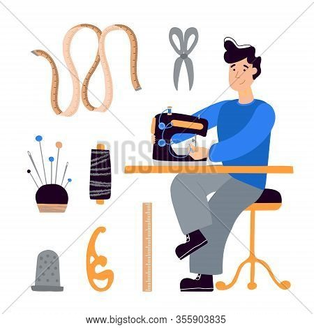 Vector Clip-art Man Seamstress Tailor Sews On An Electric Sewing Machine. Flat Illustration Hand Dra