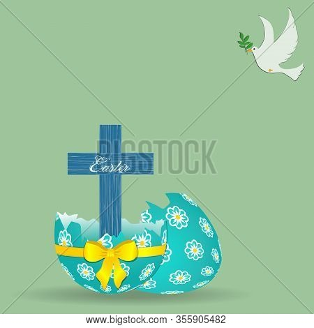 Wooden Blue Cross With Easter Decorative Text Coming Out From Broken Decorated Easter Egg With Yello