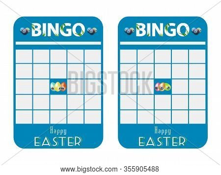 Blank Blue Bingo Cards Cut Out Decorated With Easter Eggs And Happy Easter Decorative Text Over Whit