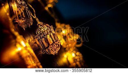 Ramadan Decoration Background 2020, Beautiful Yellow Color Arabic Traditional Lantern Light Lamp, Is