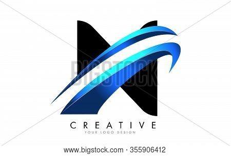 N Letter Logo With Blue Gradient Swash Design.