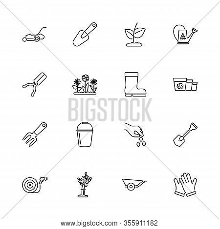 Garden, Gardening Outline Icons Set - Black Symbol On White Background. Communication, Garden, Garde