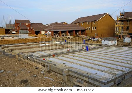 Construction of new houses with foundations