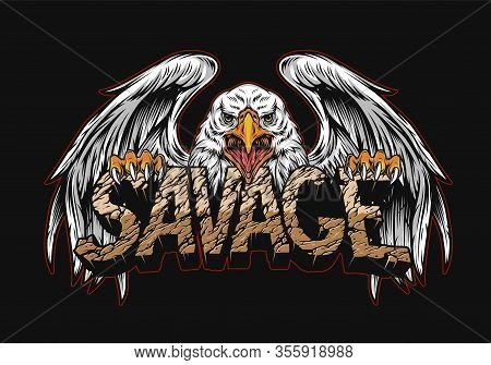 Aggressive Eagle Holding Desert Savage Word With Cracked Sand Texture In Vintage Style Isolated Vect
