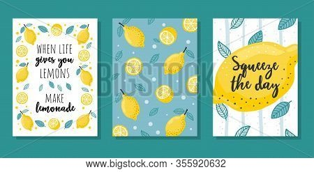 Summer Cards Set With Lemons And Lettering
