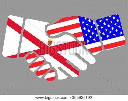 Bailiwick Of Jersey And Usa Flags Handshake Vector Illustration Eps 10