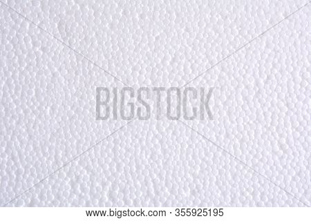 White Polystyrene Or Styrofoam Texture Background. Styrofoam Board For Backdrop. Copyspace For Text.