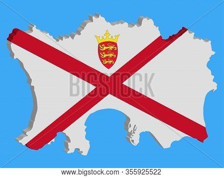 Bailiwick Of Jersey Map 3d Flag Vector Illustration Eps 10.