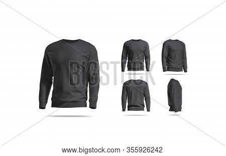 Blank Black Casual Sweatshirt Mock Up, Different Views, 3d Rendering. Empty Cotton Trendy Hoody Or B