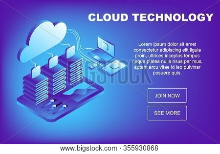 Concept Cloud Storage, Data Transfer. Online Computing Technology. Data Center, Concept Of Cloud Sto