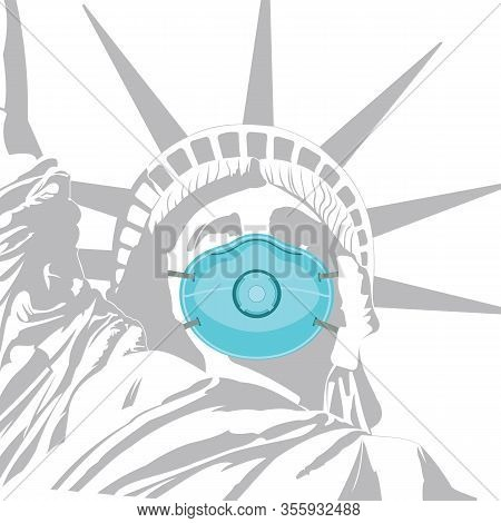 Statue Of Liberty In An Anti-bacterial Mask. Coronavirus Protection. Concept. Vector Illustration.