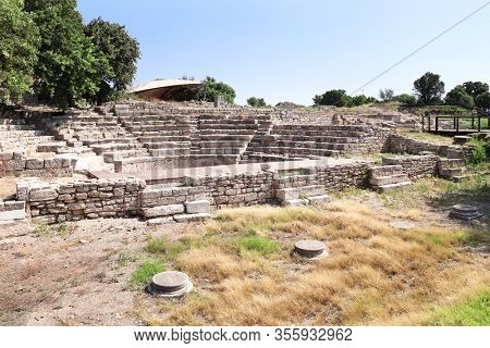 Odeon (Bouleuterion), small concert theatre and the Assembly House in ancient Troy city, Canakkale Province, Turkey. UNESCO world heritage site