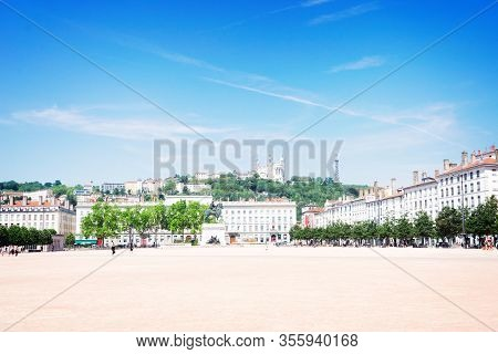 Place De Bellecour, In Lyon, France In A Beautiful Summer Day, Toned