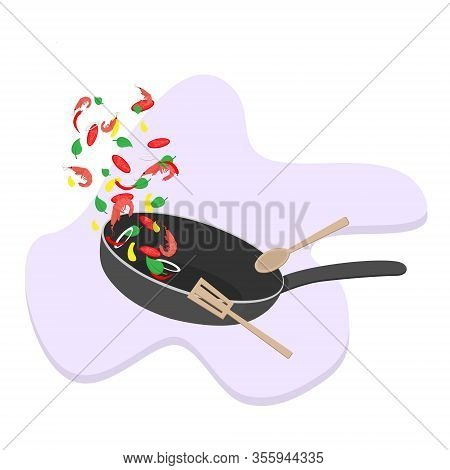 Stir Fry. Cooking Process Vector Illustration. Flipping Food In A Pan. Cartoon Style. Skillet
