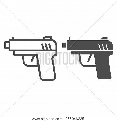 Pistol Line And Solid Icon. Firearm Or Handgun Weapon, Gangster Gun Symbol, Outline Style Pictogram