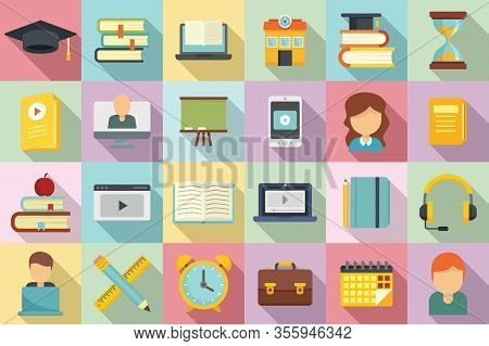 Tutor Icons Set. Flat Set Of Tutor Vector Icons For Web Design