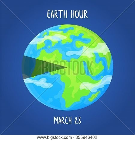 Earth Hour Day Concept. Planet With Highlighted Segment. Stock Vector Illustration On Blue Backgroun
