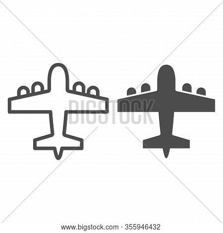 Bomber Airplane Line And Solid Icon. War Aircraft, Aerial Reconnaissance Army Plane Symbol, Outline