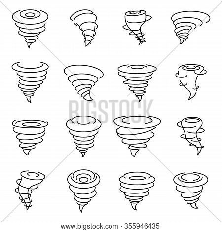 Tornado Air Icons Set. Outline Set Of Tornado Air Vector Icons For Web Design Isolated On White Back