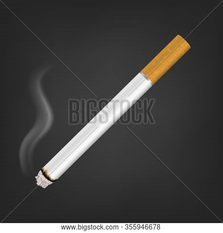 Vector 3d Realistic White Clear Blank Whole Lit Cigarette With Smoke Icon Closeup Isolated On Black