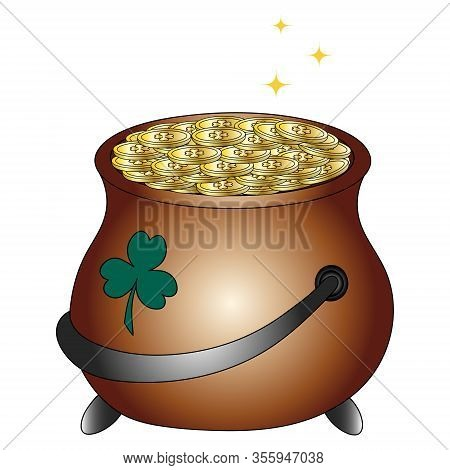 Color Vector Illustration. Pot Of Gold Leprechaun. Coins With An Emblem In The Form Of Clover Shine