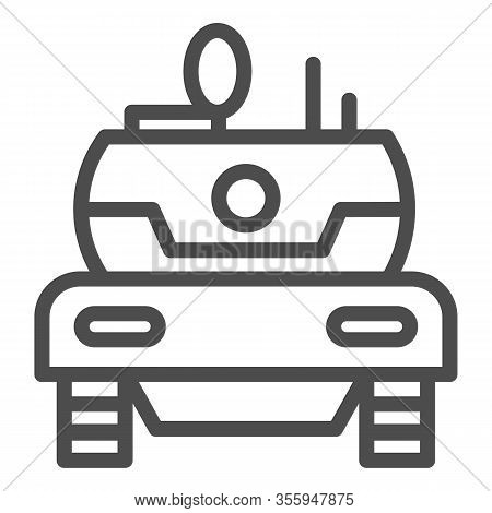 Modern Tank Line Icon. Combat Fighting And Attack War Vehicle Symbol, Outline Style Pictogram On Whi