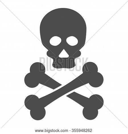 Jolly Roger Solid Icon. Death Warning, Skull And Crossbones Symbol, Glyph Style Pictogram On White B