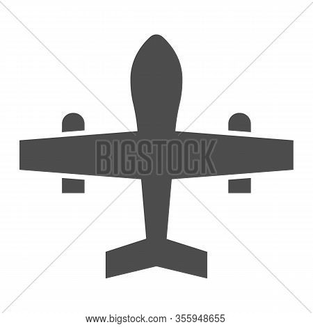Military Drone Solid Icon. War Aircraft, Fighter Reconnaissance Plane Symbol, Glyph Style Pictogram
