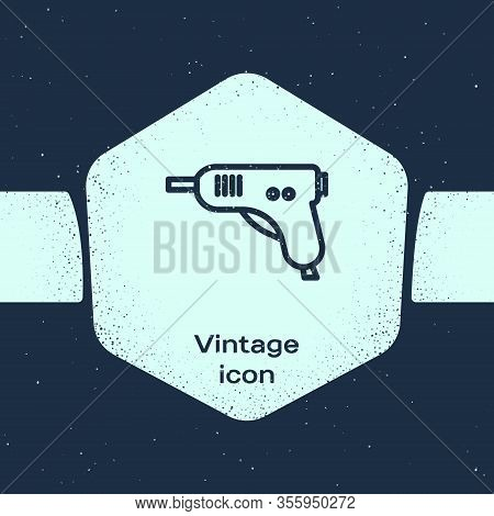 Grunge Line Electric Hot Glue Gun Icon Isolated On Blue Background. Hot Pistol Glue. Hot Repair Work