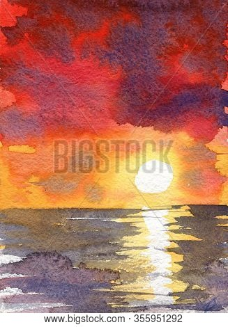 Watercolor Red Sunset Dawn Sun Rays Gentle Color Juicy Texture Illustration Landscape Reflection Shi