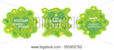 Green Healthy Natural Bio Food Products Badge, Eco Bio Product And Natural Organic Emblem Badges Vec