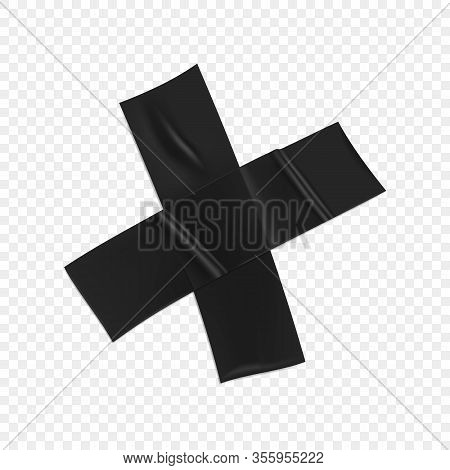 Black Duct Tape Cross. Realistic Black Adhesive Tape Cross For Fixing Isolated On Transparent Backgr