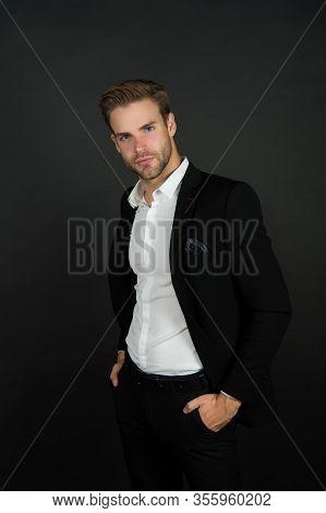 Remaining Conservative In Style. Stylish Businessman Dark Background. Modern Man In Office Style. Pr