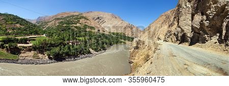 Panj River, Pamir Mountains And Pamir Highway. Panj Is Upper Part Of Amu Darya River. Tajikistan And