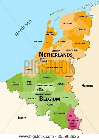 Vector Regions Map Of Benelux Countries: Belgium, Netherlands And Luxembourg, With Neighbouring Coun