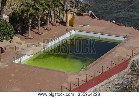 Abandoned Pool With Green Water, Dirty Water, Pool Near The Beach