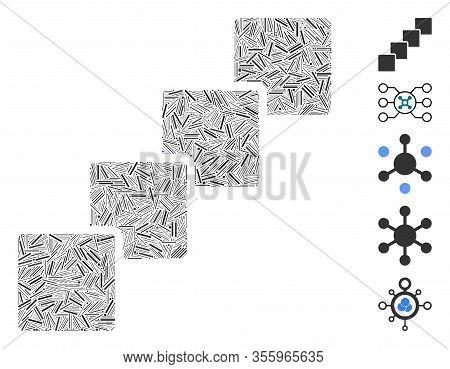 Dash Mosaic Based On Blockchain Icon. Mosaic Vector Blockchain Is Formed With Randomized Dash Dots.