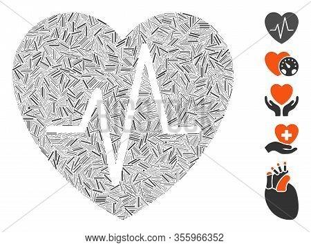 Dash Mosaic Based On Cardiology Heart Pulse Icon. Mosaic Vector Cardiology Heart Pulse Is Created Wi