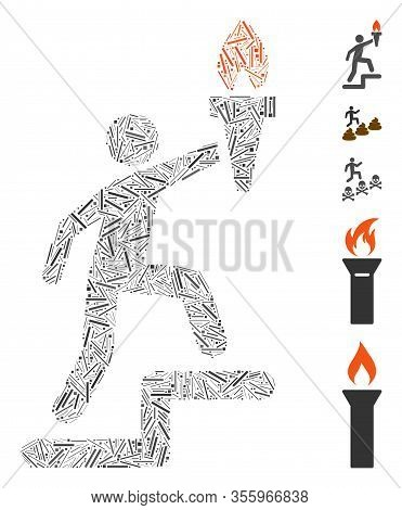 Line Mosaic Based On Climbing Leader With Torch Icon. Mosaic Vector Climbing Leader With Torch Is Co