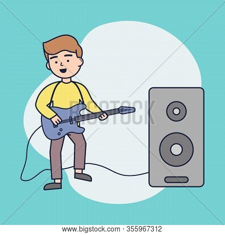 Concept Of Music Concert Or Lesson. Boy Play Electric Guitar. Cheerful Man Playing The Guitar. Young