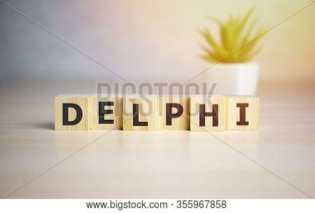 Delphi Word On Wooden Block, Tag Cloud, Graphics - Programming Concept.