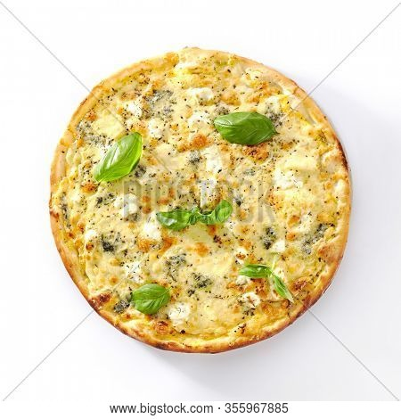 White four cheeses pizza with melted parmesan, gorgonzola, mozzarella and gouda cheese isolated. Traditional italian whole flatbread with 4 cheese and dried basil cutout