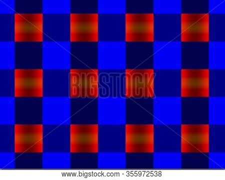Abstract Background, Black, Red, Ultramarine, Gradient Square, Geometric, Illustration Pattern